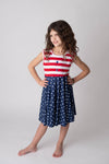 PATRIOTIC BUTTONED TWIRLY DRESS