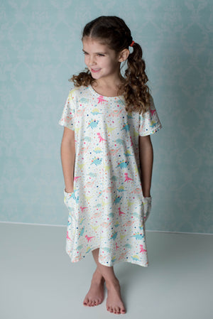 DINOSAUR TUNIC DRESS WITH POCKETS - MILK SILK
