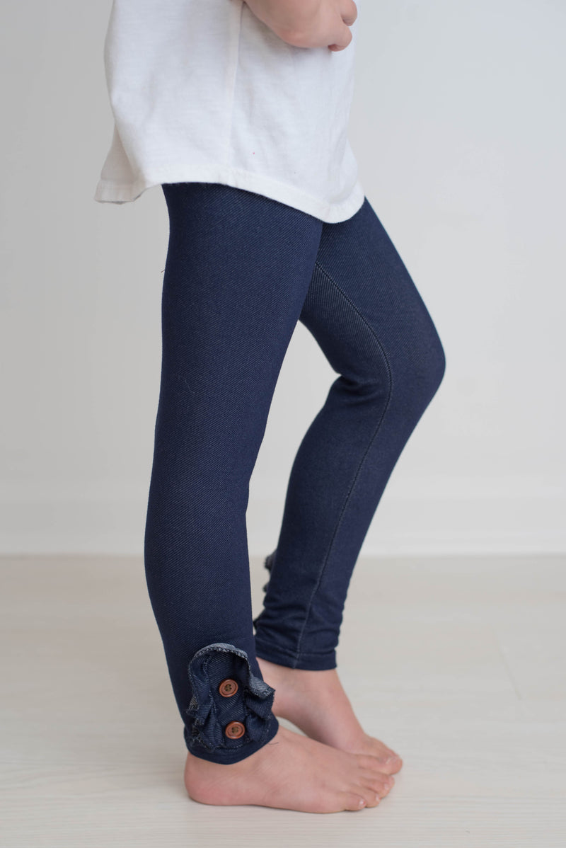 DENIM BUTTONED LEGGINGS