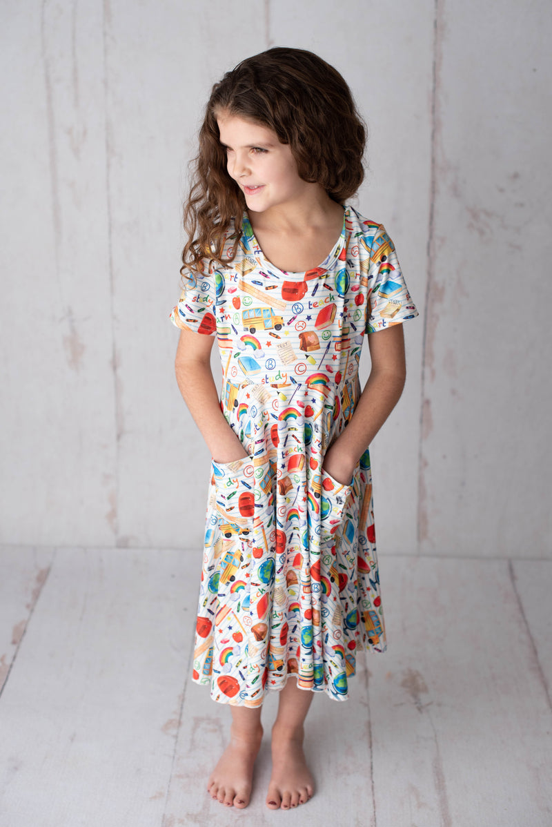 SCHOOL TWIRLY DRESS WITH POCKETS - PREORDER