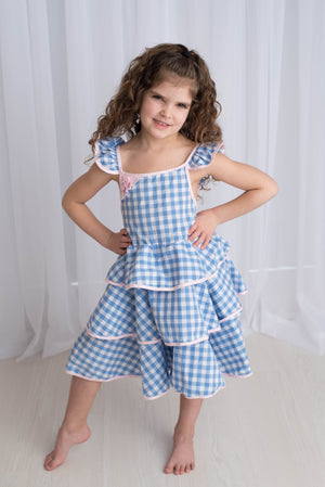 GINGHAM RUFFLED TWIRL DRESS
