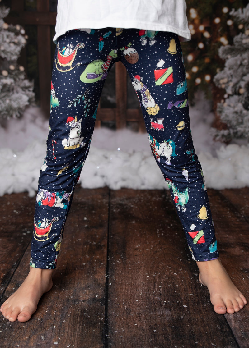CHRISTMAS DINO MILK SILK LEGGINGS