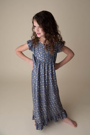 MOON & STAR NIGHTGOWN- DARK GREY