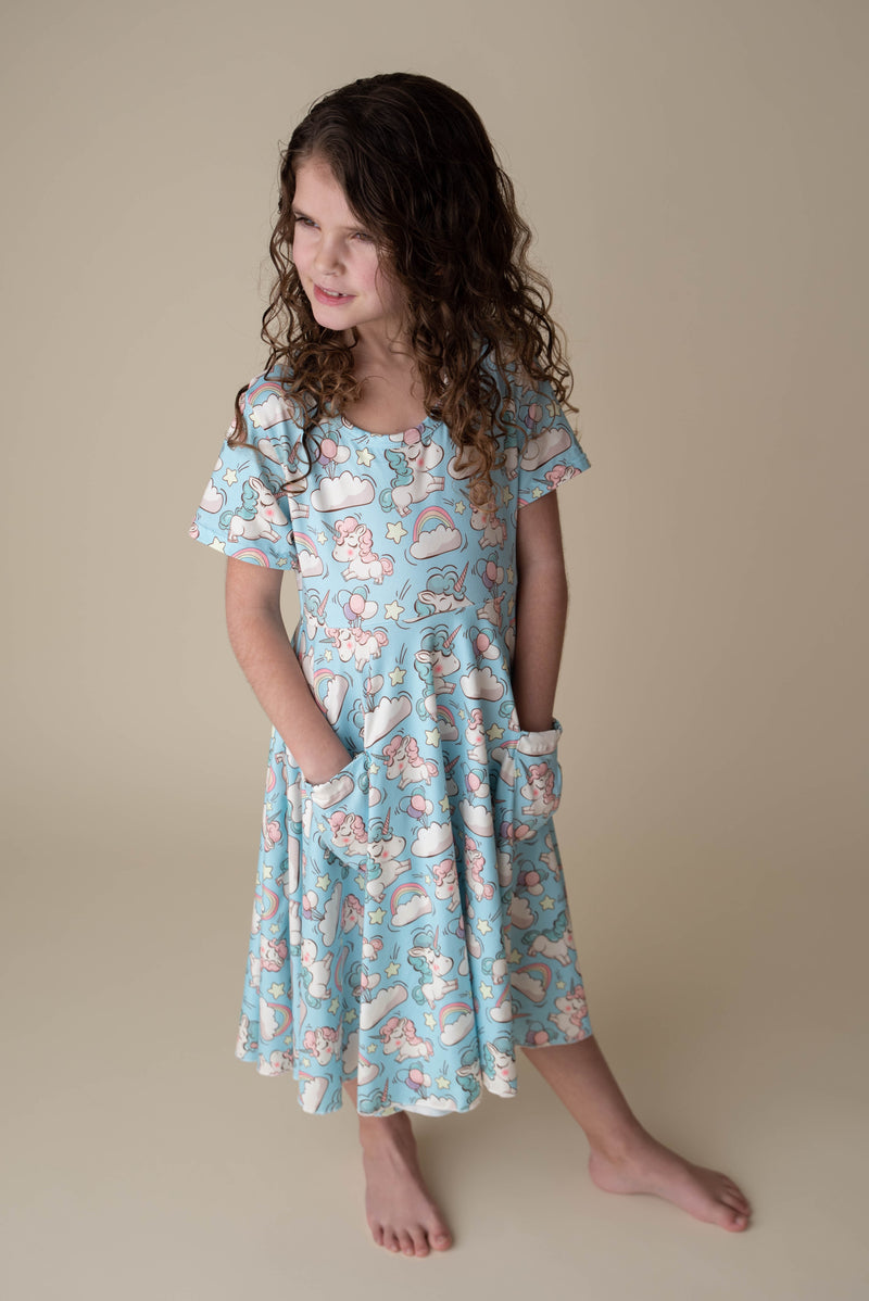 UNICORN TWIRLY DRESS WITH POCKETS