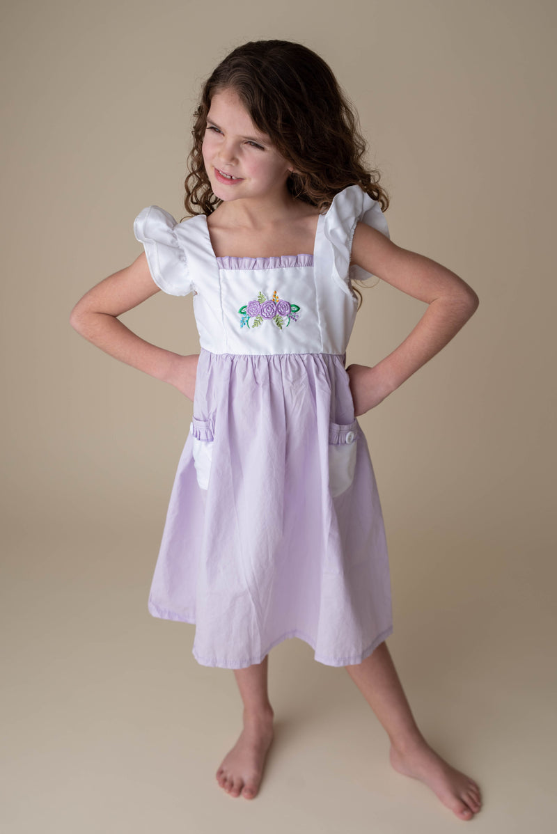 MIKAYLA PURPLE FLORAL DRESS WITH POCKETS