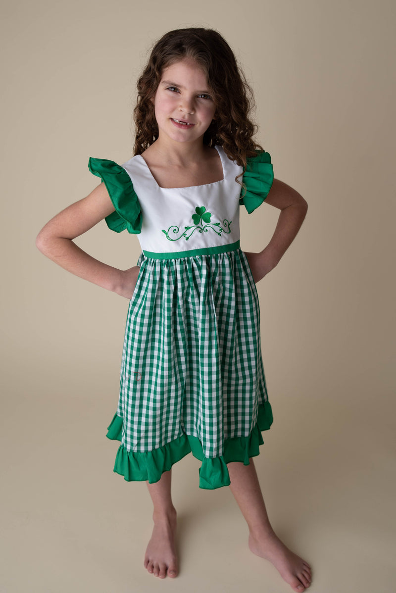 MIKAYLA SHAMROCK GINGHAM DRESS