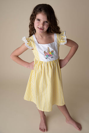 MIKAYLA UNICORN YELLOW GINGHAM DRESS