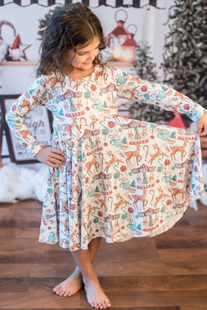 REINDEER CAROUSEL TWIRLY DRESS