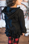BLACK ZIP RUFFLE JACKET