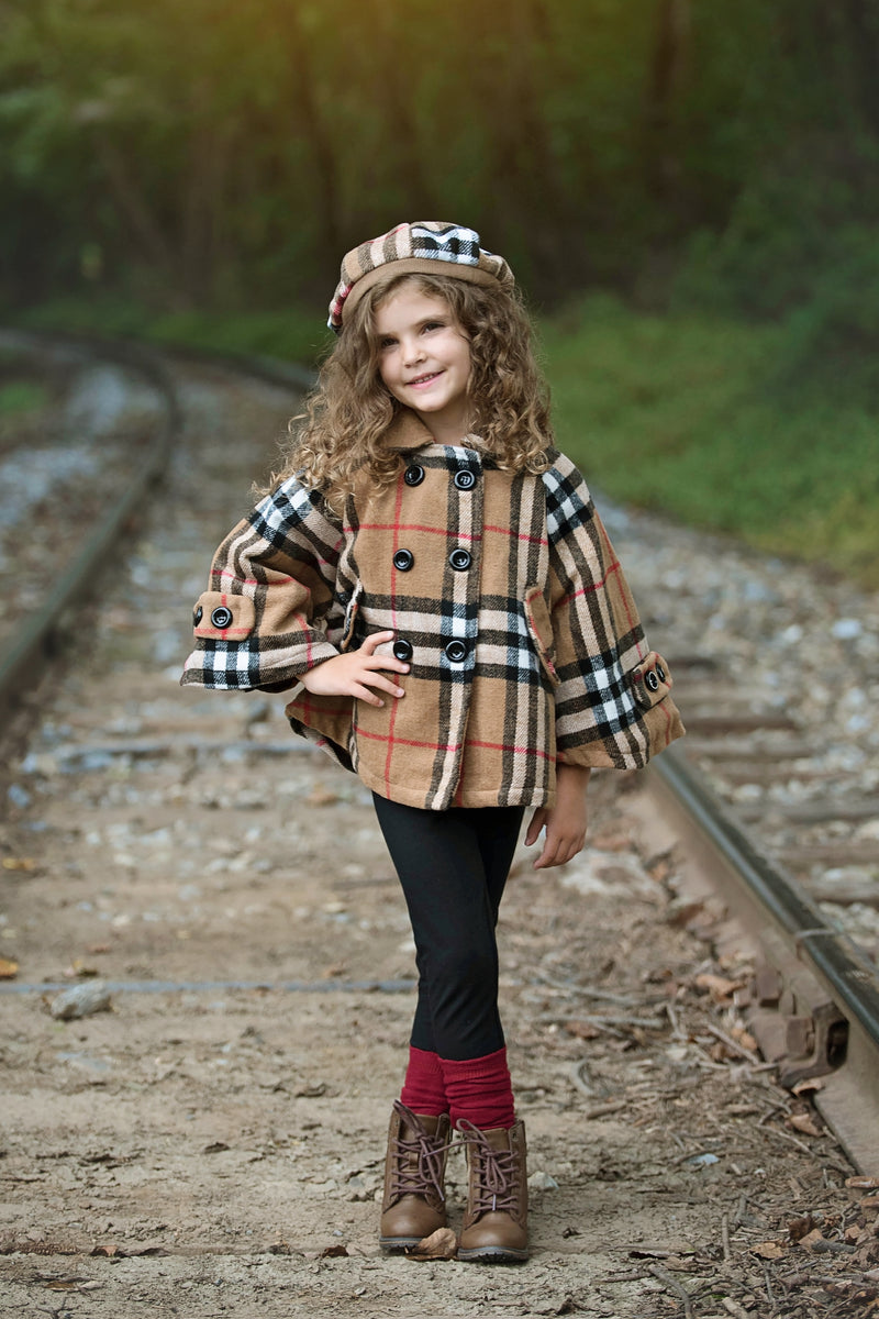 PLAID COAT WITH HAT - PREORDER