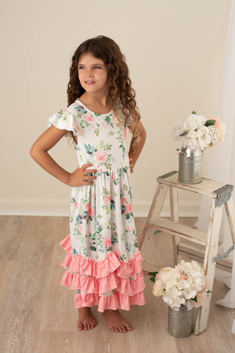 MEREDITH PINK FLORAL RUFFLE DRESS