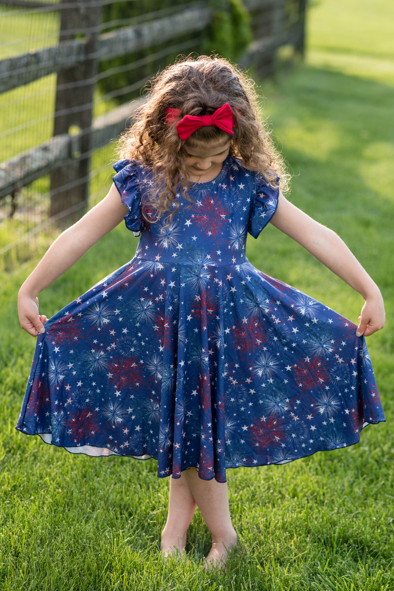 PATRIOTIC FIREWORKS TWIRL DRESS