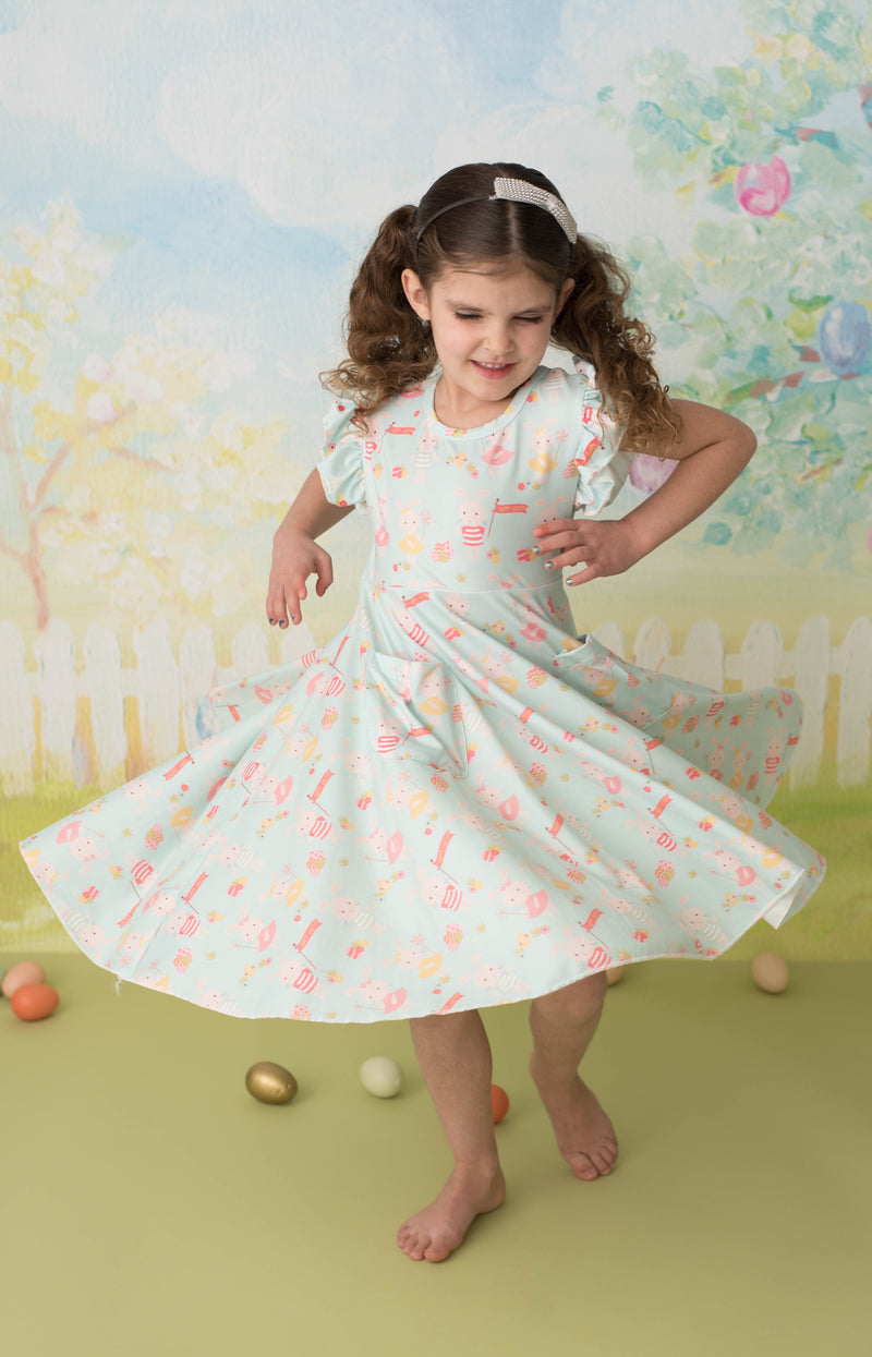 HAPPY EASTER BUNNY TWIRL DRESS WITH POCKETS