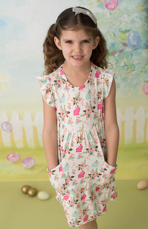 BUNNY FLORAL PEARL DRESS WITH POCKETS