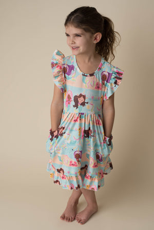 UNICORN MERMAID DRESS WITH POCKETS