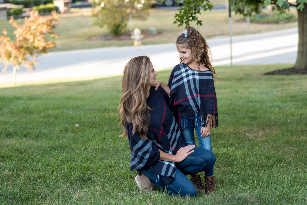 ADULT  PLAID PONCHO - 4 COLORS