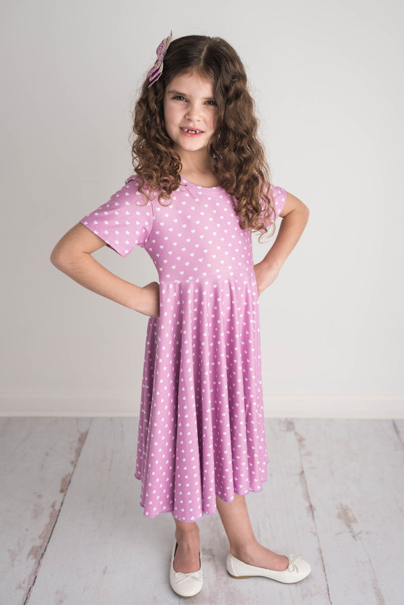 LILAC LITTLE HEART TWIRLY DRESS