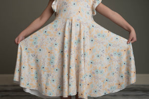 TEAL & YELLOW FLORAL TWIRLY DRESS