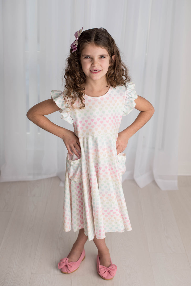 PASTEL RAINBOW HEART TWIRLY DRESS WITH POCKETS