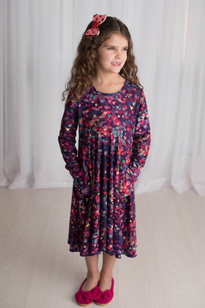 VALENTINA HEARTS TWIRLY DRESS WITH POCKETS