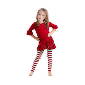 EVE RED TOP AND RED/WHITE LEGGINGS SET