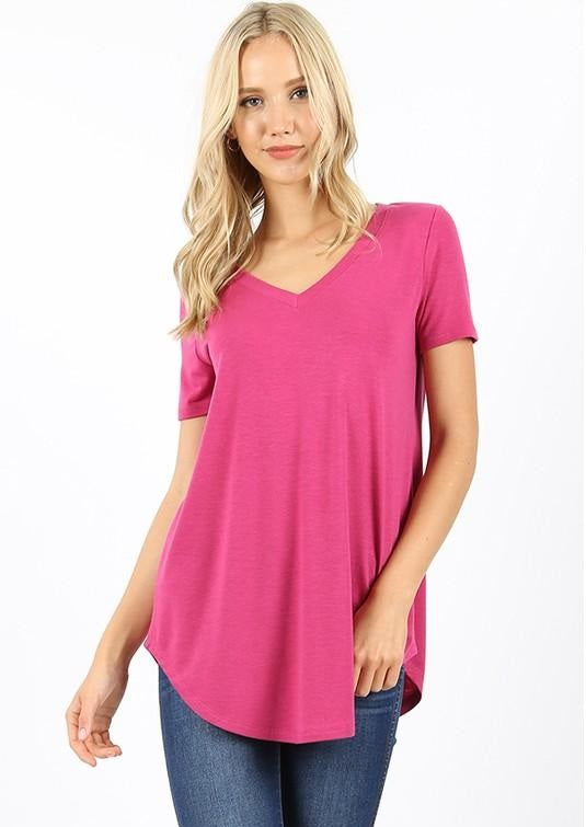 SHORT SLEEVE RELAXED FIT TOP - MAGENTA