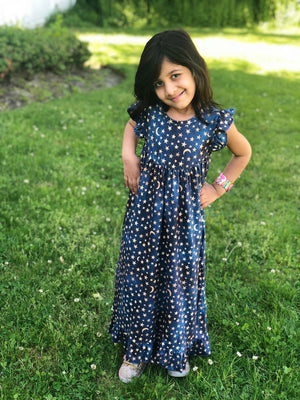 MOON & STARS NIGHTGOWN - BLUE/GOLD