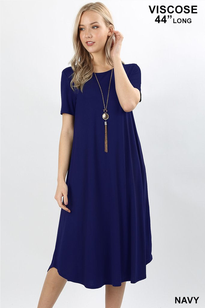 ROUND NECK POCKET DRESS - NAVY
