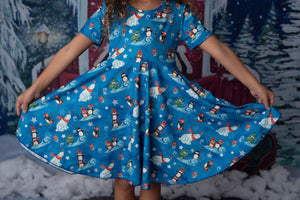 PENGUINS TWIRLY  DRESS WITH POCKETS