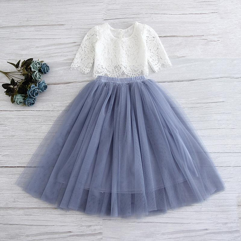 PARIS LACE TOP AND TULLE MAXI SKIRT -GREY