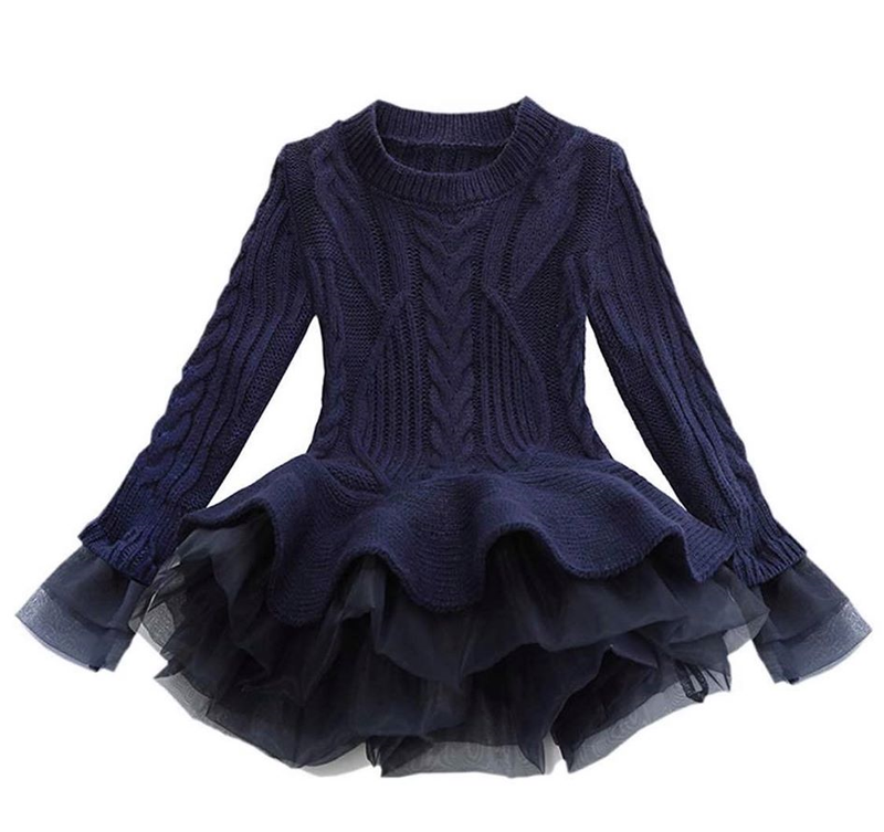 PEPLUM TUTU SWEATER - NAVY