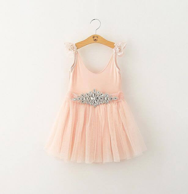 PRINCESS DIAMOND TUTU DRESS - PEACH