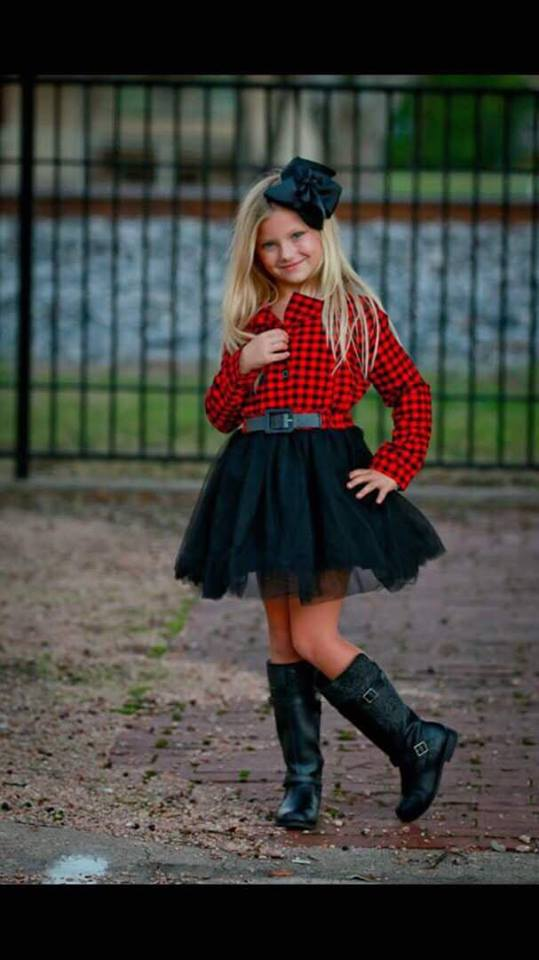 RED AND BLACK PLAID TULLE DRESS