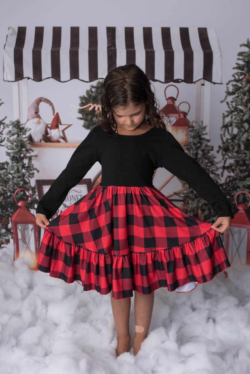 CINDY PLAID TWIRL DRESS
