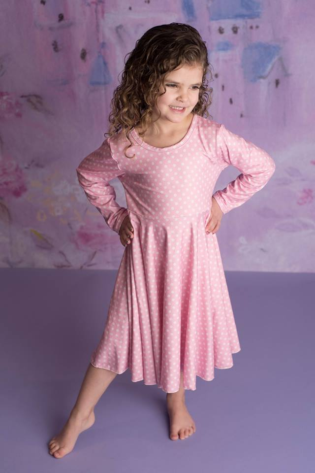 POLKA PINK TWIRL LS DRESS