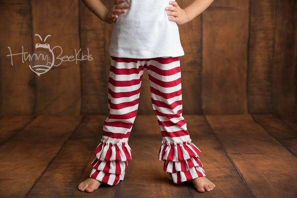 STRIPE RUFFLE PANTS