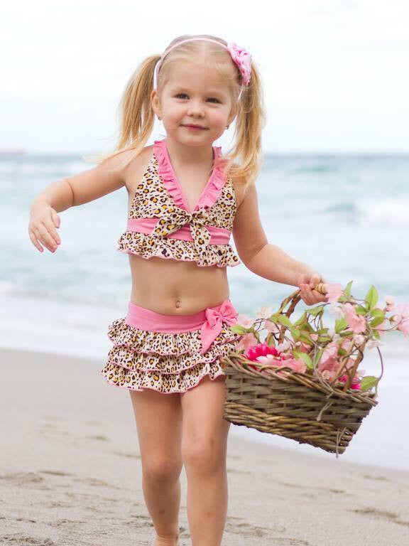 PINK LEOPARD 3 PC SWIMSUIT