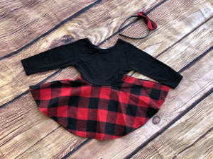 BUFFALO PLAID TWIRL DRESS AND HEADBAND