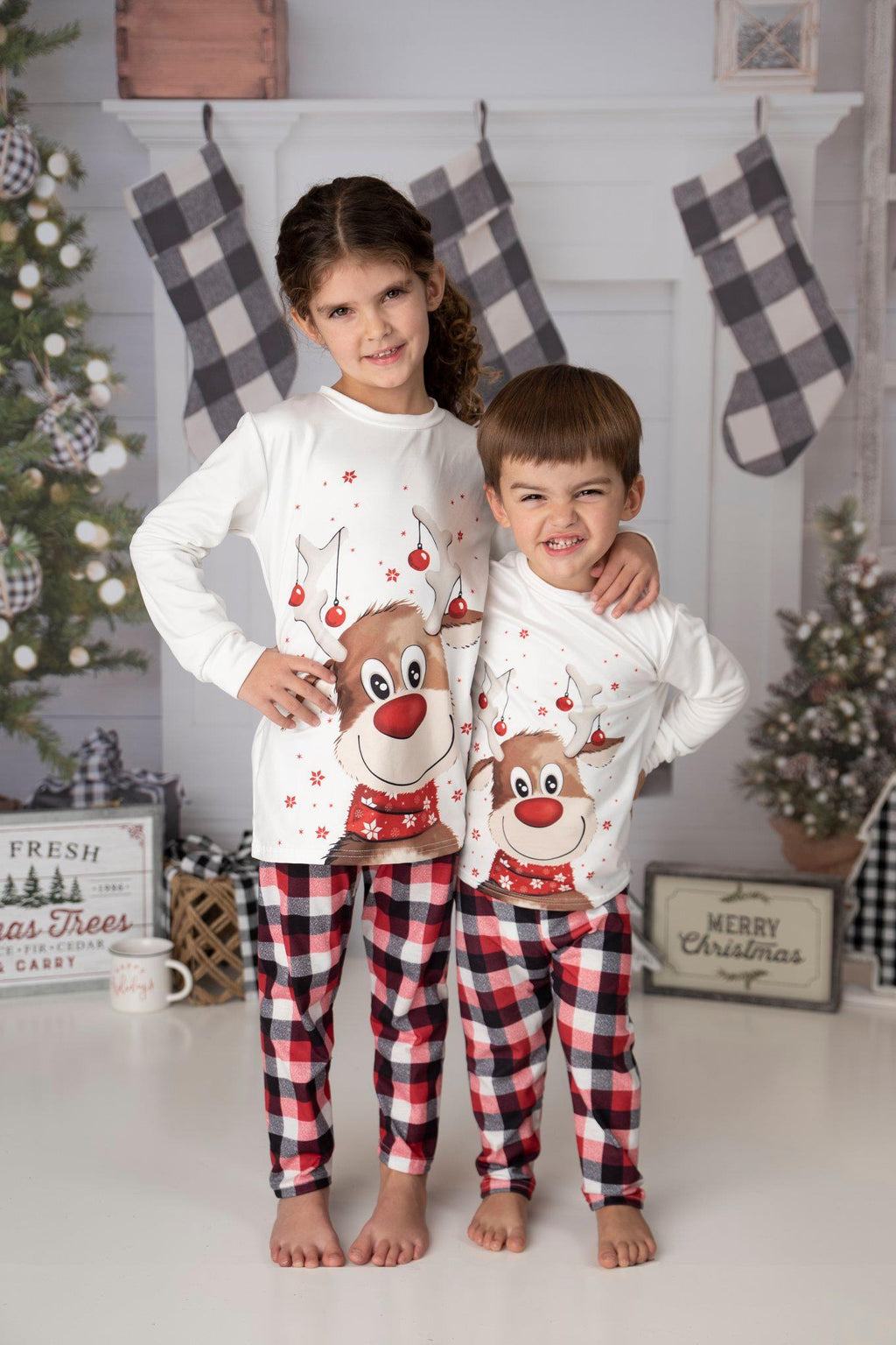 FAMILY RUDOLPH PLAID PJ SETS - PRESALE