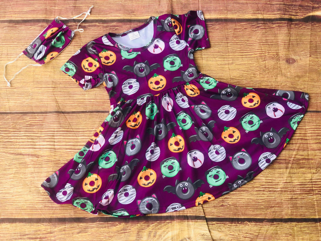 HALLOWEEN SPOOKY DONUTS TWIRL  DRESS
