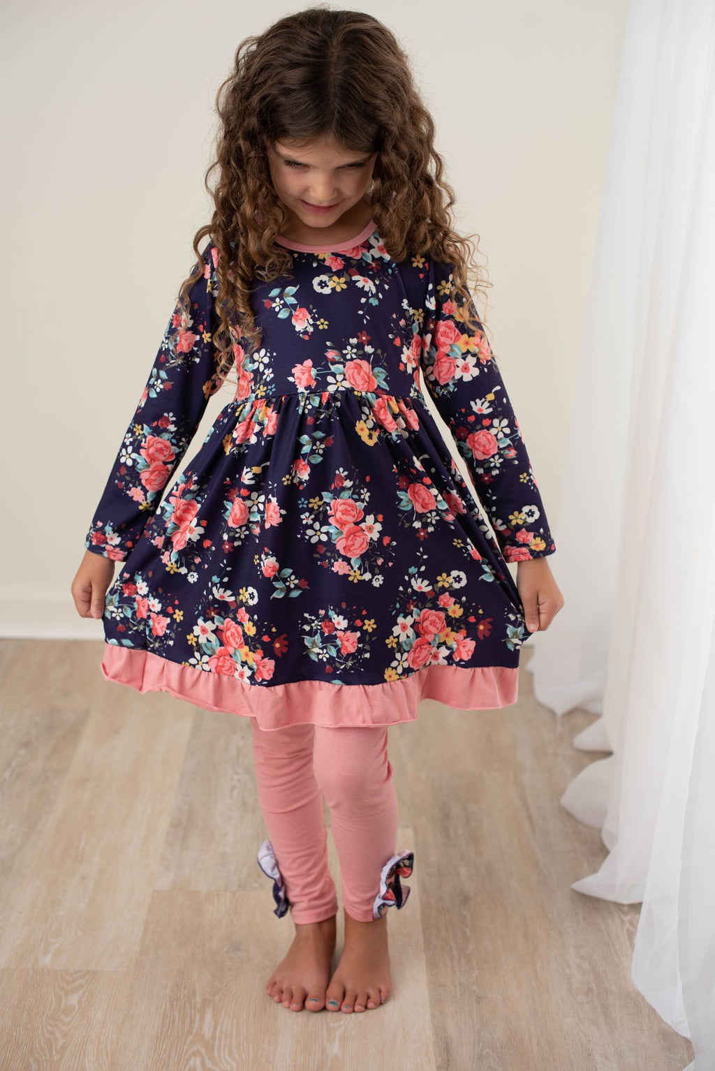 FLORAL DRESS AND LEGGINGS SET