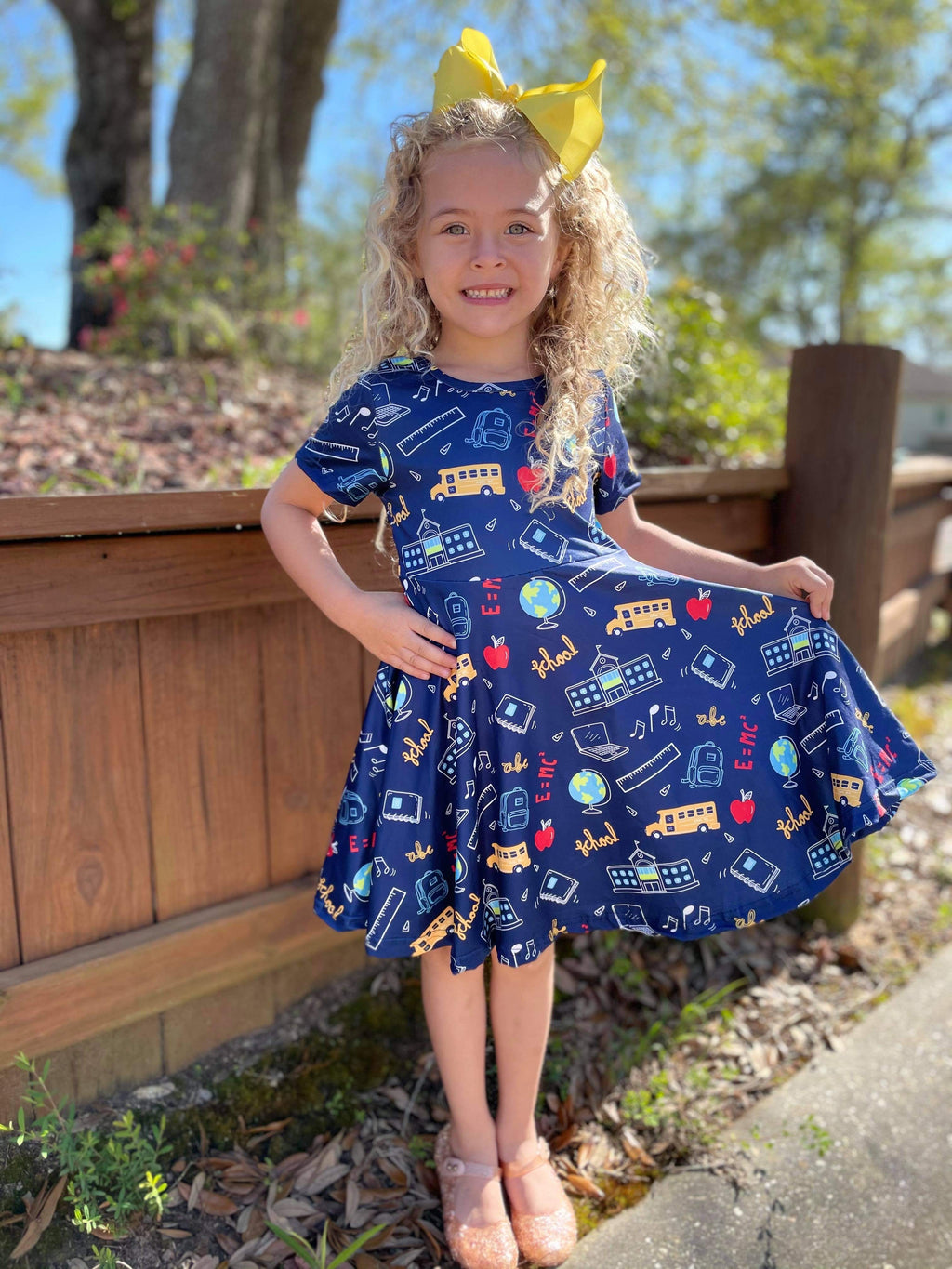 BACK TO SCHOOL TWIRL DRESS - NAVY