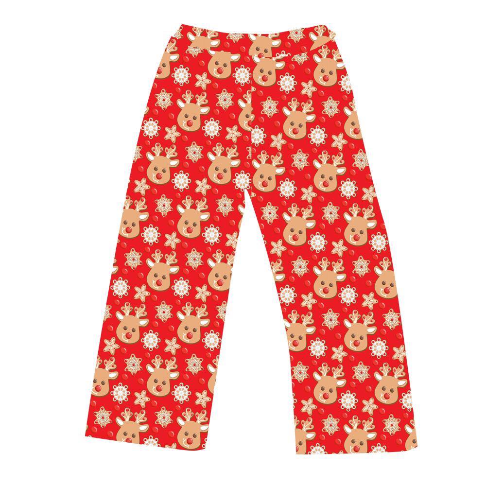 LADIES PJ BOTTOMS CHRISTMAS COOKIES RED