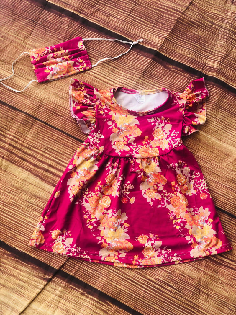 FUCHSIA FLORAL PINK PEARL DRESS