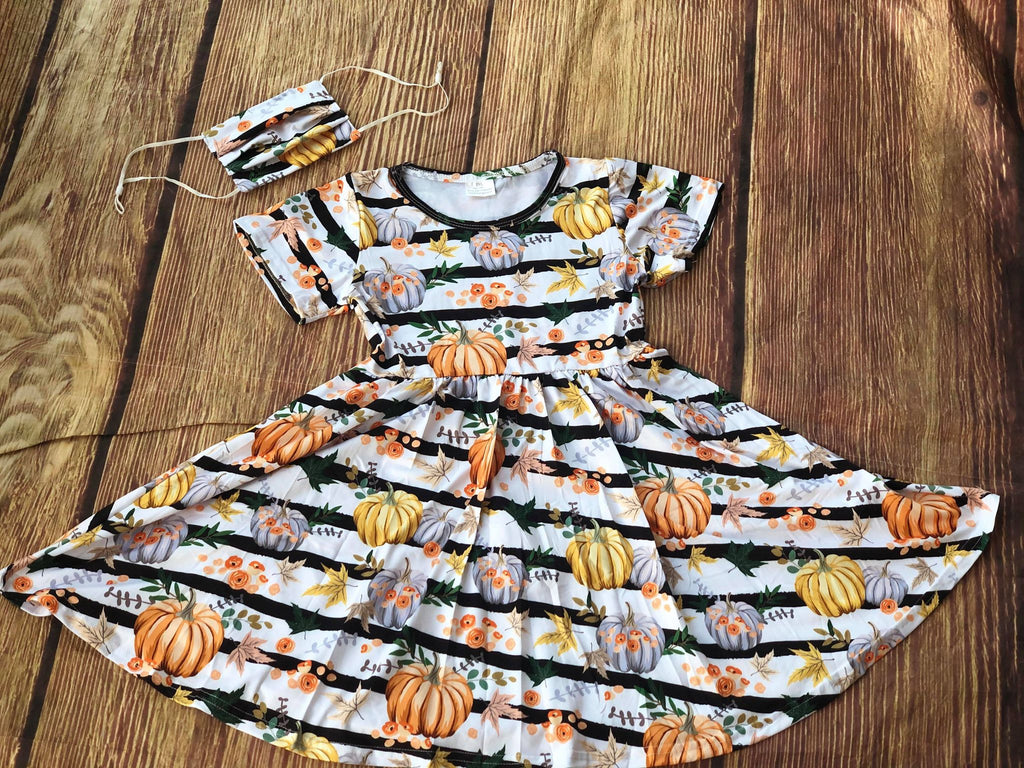 STRIPE PUMPKIN TWIRL DRESS