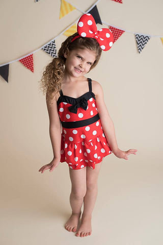 RED POLKA SWIMSUIT WITH BOW HEADBAND