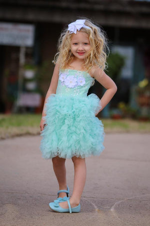 RUFFLES AND LACE DRESS - MINT