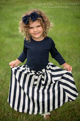 NAVY TOP AND STRIPE MAXI SKIRT SET