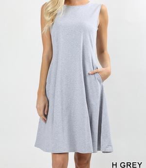 SLEEVELESS CLASSIC A-LINE DRESS WITH SIDE POCKETS
