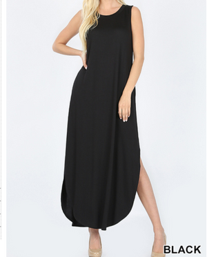 SLEEVELESS MAXI DRESS SIDE SLITS POCKETS